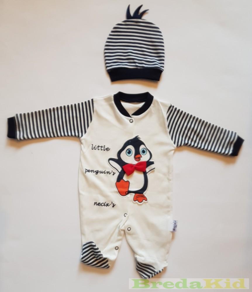578cf5fb47 Fiú Bébi Pingvines Egybe Rugdalózó Sapkával Szett (62cm, 3 hó) UTOLSÓ  DARABOK