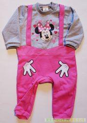 Disney Minnie Bébi Bolyhos Egybe Rugdalózó (Kantáros Kezes)(80cm, 1 év, Szürke, lábfej néljüli) UTOLSÓ DARAB