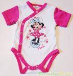 Disney Minnie Bébi Rövid Ujjú Body (Elöl Gombolós)(Rózsa/Pink, Szürke/Rózsa, Fehér/Pink)