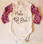 Disney Minnie Bébi Hosszú Ujjú Body (Hello Girl)(Fehér/Lila, Rózsaszín/Lila)