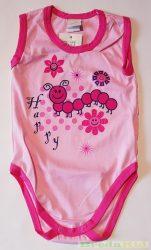 Lány Bébi Kukacos Ujjatlan Body (62cm, 3 hó, Rózsaszín) UTOLSÓ DARAB