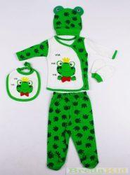 Fiú Békás Bébi Pamut 5 Részes Szett (56-62cm, 0-6 hó, Zöld) UTOLSÓ DARAB