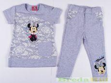 Disney Minnie Bébi Csipkés Hatású Rövid Ujjú Póló/Tunika és Leggings Szett (80cm, 1 év, Sötétszürke Legginggel) UTOLSÓ DARAB