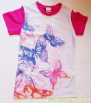 Lány Pillangós Rövid Ujjú Póló (Rózsaszín, Pink)