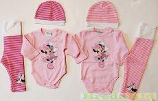 Disney Minnie Bébi 3 Részes Szett (Body, Nadrág, Sapka)(Fehér/Zöld, Rózsaszín)