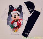 Disney Mickey Bébi 3 Részes Szett (Karácsonyi Kék)(Body, Nadrág, Sapka)