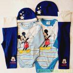 Disney Mickey Bébi Csillagos 3 Részes Szett (Body, Nadrág, Sapka)