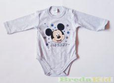Disney Mickey Bébi Hosszú Ujjú Body (68cm, 6 hó, Csillagos Szürke) UTOLSÓ DARAB