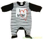 Unisex Bébi Feliratos Egybe Rugdalozó (I Love Mom)