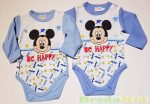 Disney Mickey Hosszú Ujjú Body (Be Happy)(Fehér, Világoskék, Középkék)