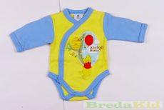 Disney Micimackó Fiú Hosszú Ujjú Body (50cm, Sárga/Kék) UTOLSÓ DARAB