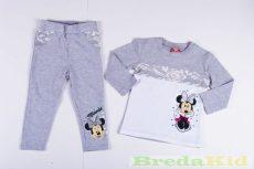 Disney Minnie Bébi Csipkés Hatású Hosszú Ujjú Póló és Leggings Szett (80cm, 1 év, Sötétszürke Legginggel) UTOLSÓ DARAB