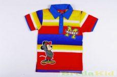 Disney Mickey Bébi Galléros Rövid Ujjú Póló (80cm, 1 év, Színes Csíkos) UTOLSÓ DARAB