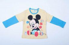 Disney Mickey Bébi Hosszú Ujjú Póló (86cm, 12-18 hó, Sárga) UTOLSÓ DARAB