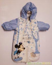 Disney Mickey Bébi Vízlepergetős Téli Bundazsák (56/62cm, 0/6 hó, Krém/kék) UTOLSÓ DARAB