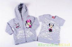 Disney Minnie Vékony Csipkés Hatású Cipzáras Kardigán és Rövid Ujjú Póló/Tunika Szett (116cm, 5 év, Szürke) UTOLSÓ DARAB