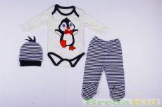 Unisex Pingvines Bébi 3 Részes Szett (Body, Nadrág, Sapka)(80cm, 1 év) UTOLSÓ DARAB