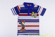 Disney Mickey Galléros Rövid Ujjú Póló (Kék Csíkos)(80cm, 104cm, 110cm, 116cm) UTOLSÓ DARABOK