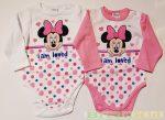 Disney Minnie Hosszú Ujjú Body (Rózsaszín, Pink, Fehér)( I am Loved)