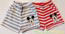 Disney Mickey Pamut Csíkos Rövidnadrág (74cm, 98cm, 104cm, 110cm, Fehér-Szürke Csikos) UTOLSÓ DARABOK