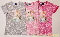 Disney Jégvarázs Csipkés Hatású Rövid Ujjú Póló/Tunika (Pink, Rózsaszín, Szürke)