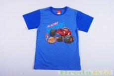 Disney Blaze- Láng A Szuperverdák Rövid Ujjú Póló (Kék/Kék Ujjal)(92cm, 134cm) UTOLSÓ DARABOK
