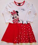 Disney Minnie Hosszú Ujjú Ruha (74cm, 80cm, 122cm Fehér/Piros Masnis, Egyszínű Piros) UTOLSÓ DARABOK