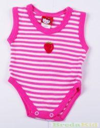 Lány Bébi Epres Ujjatlan Body (62cm, 3 hó, Rózsaszín Csíkos) UTOLSÓ DARAB