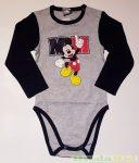 Disney Mickey Hosszú Ujjú Body (M)(Fehér/Piros, Fehér/Kék, Szürke/Sárga, Szürke/Piros, Szürke/Sötékék)