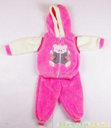 Lány Macis Bébi 3 Részes Szett (Cipzáras Szőrős Mellény, pulcsi, nadrág)(80cm, 1 év, Rózsaszín) UTOLSÓ DARABOK