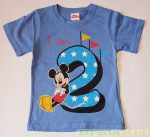 Disney Mickey Szülinapos Rövid Ujjú Póló (98cm, 2 év, Kék) UTOLSÓ DARAB