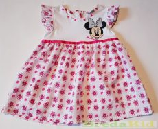 Disney Minnie Bébi Rövid Ujjú Ruha (80cm, 1 év, Fehér/Pink) UTOLSÓ DARAB