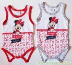 Disney Minnie Bébi Ujjatlan Body (Fehér/Piros, Fehér/Piros/Szürke)(74cm, 80cm) UTOLSÓ DARABOK
